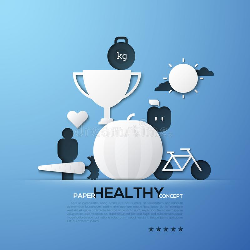 Paper concept of healthy lifestyle, nutrition, fitness, weight loss. White silhouettes of winner`s cup, bicycle, fruits royalty free illustration