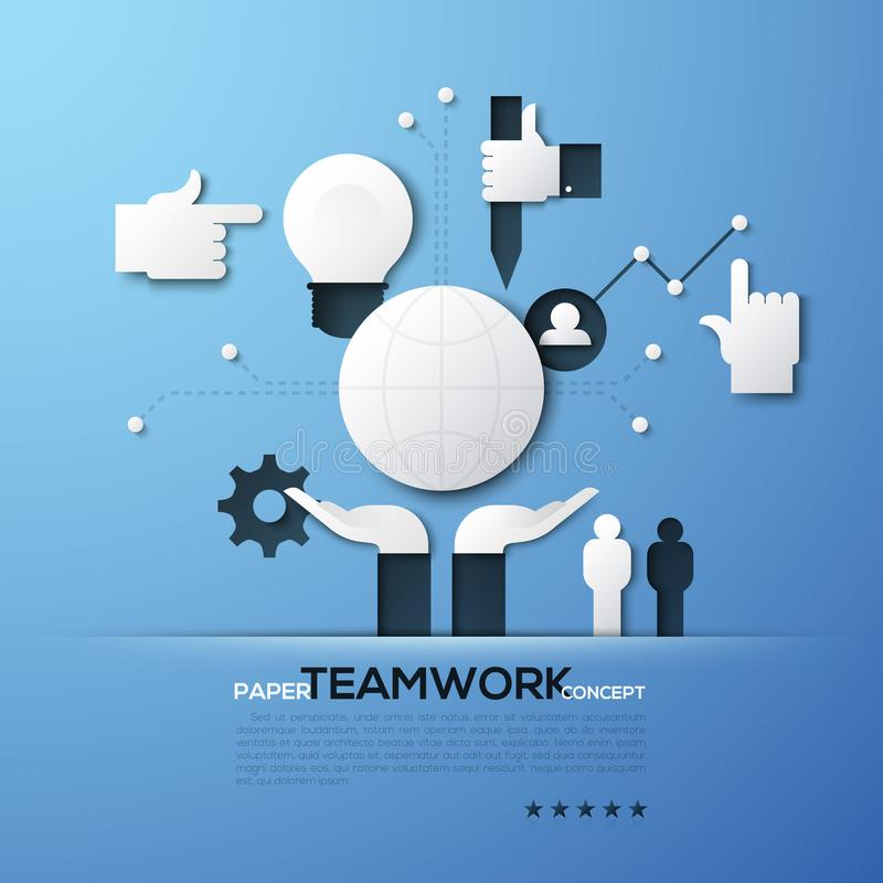 Paper concept of teamwork, team building, global networking, community support. White silhouettes of globe, people stock illustration