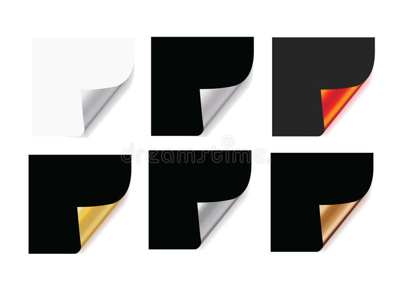 Paper corner curl. Vector, shiny metallic looking. Free to resize royalty free illustration