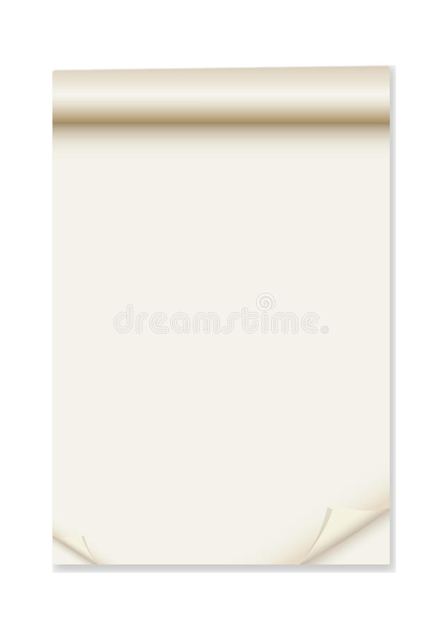 Paper with corner curl. For tex royalty free illustration