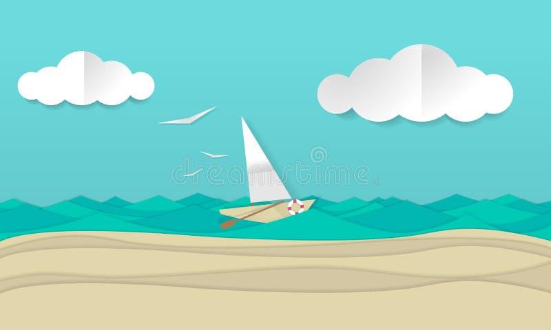 Paper craft art illustration of a sailboat ship sailing the waves. stock illustration