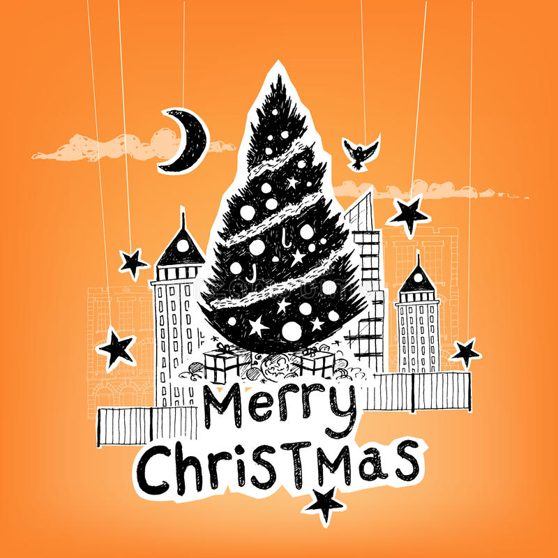 Paper Craft Christmas Vector. Paper City Christmas - Christmas themed hand drawn christmas vector elements royalty free illustration