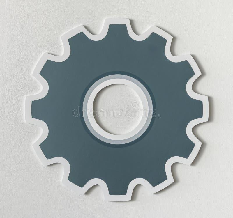 Paper craft of cog wheel icon symbol stock images