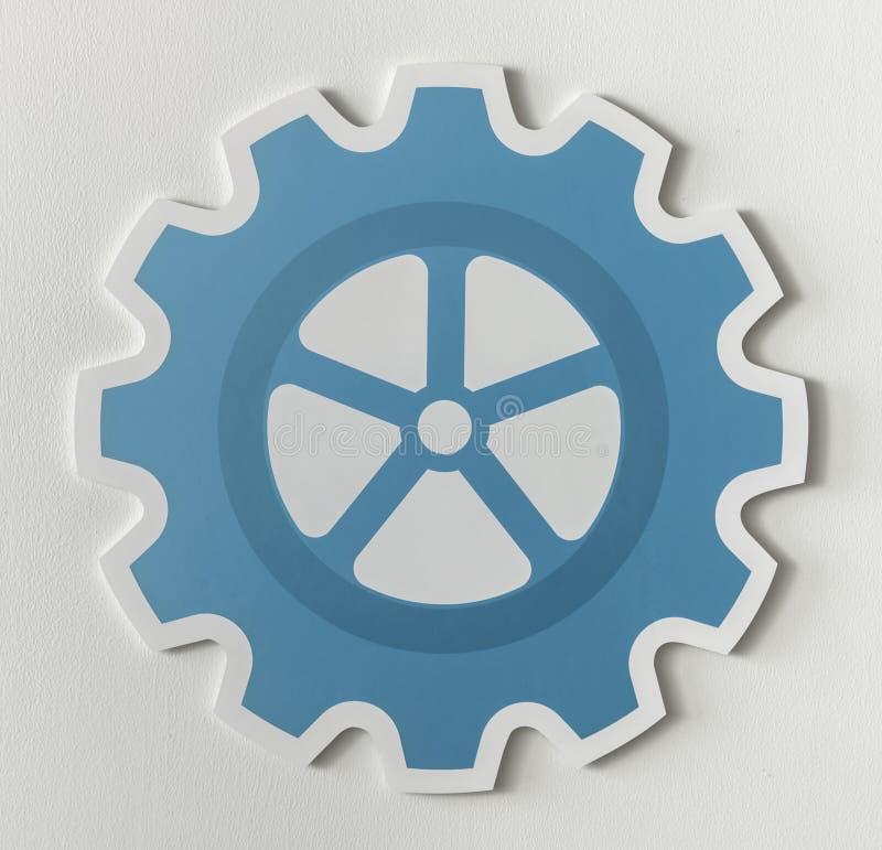 Paper craft of cog wheel icon symbol royalty free stock photos