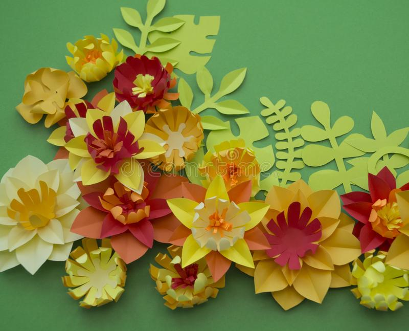 Paper craft flower decoration concept border green background stock download paper craft flower decoration concept border green background stock image image of card mightylinksfo
