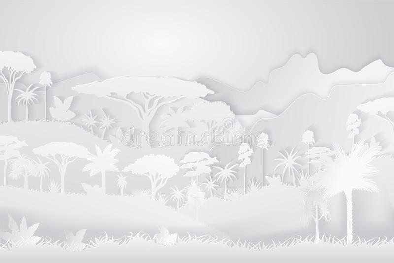 Paper Crafted Cutout World. Concept of tropical rainforest Jungle. Vector illustration.  stock illustration