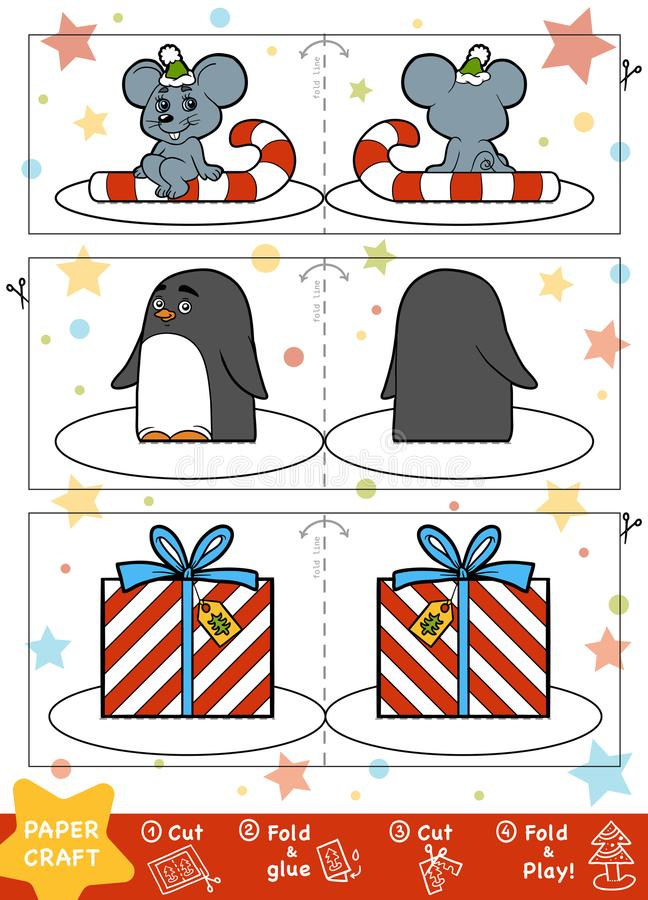 Paper Crafts for children. Mouse, Penguin and Christmas gift stock illustration