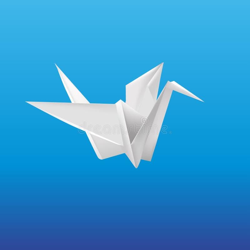 Paper crane. Origami crane on blue background royalty free illustration