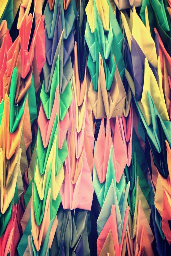 Paper cranes garlands at Hiroshima Japan stock photos