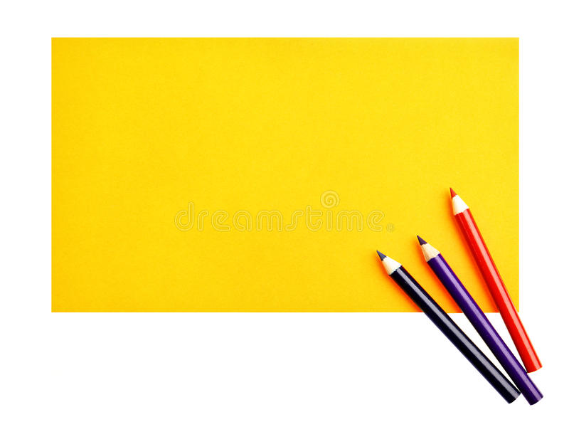 Paper and crayons. Blank paper and crayons isolated over white background stock image