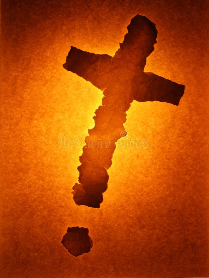 Paper cross glowing royalty free stock photos