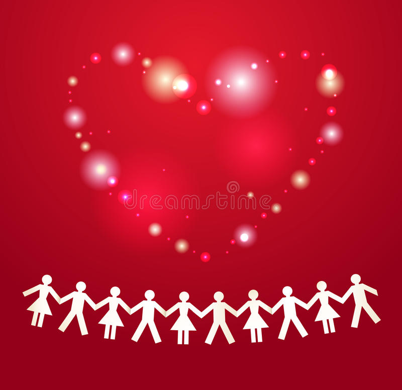Download Paper Crowd With Heart On Background Stock Vector - Illustration of communication, crowd: 25280211