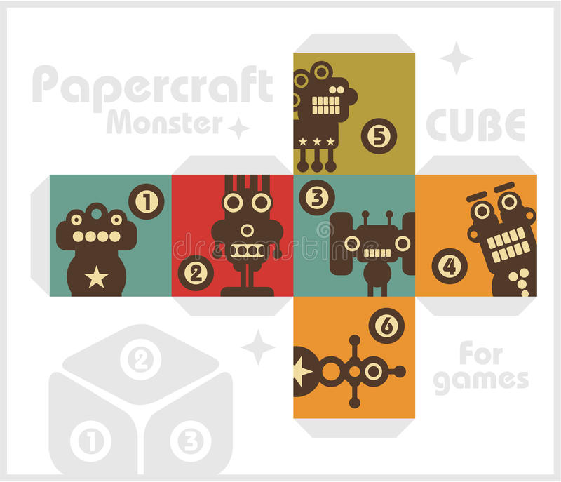 Download Paper Cube With Monsters For Table Games. Stock Vector - Image: 32905361