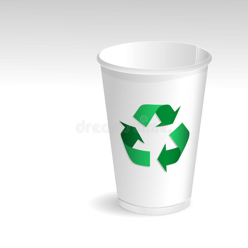 Paper cup. With recycle symbol vector illustration