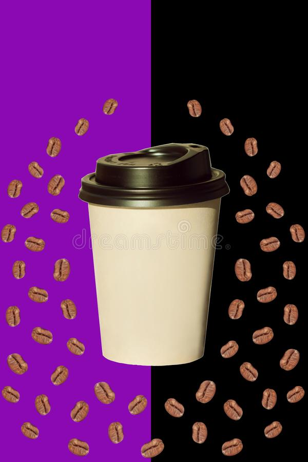 Paper cup with heartshaped coffee beans isolated on a white background. Paper cup with coffee beans isolated on a black and violet background. Coffee to go, take stock photo