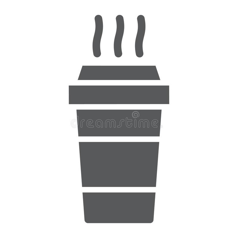 Paper cup glyph icon, beverage and cafe, disposable cup sign, vector graphics, a solid pattern on a white background. Paper cup glyph icon, beverage and cafe stock illustration