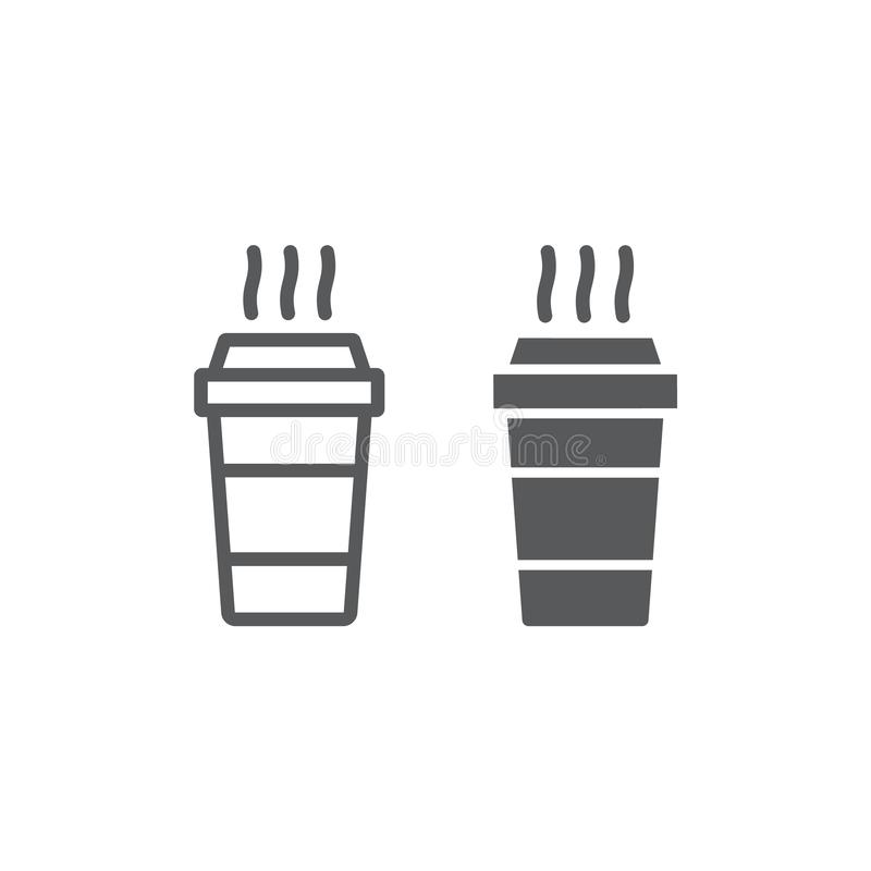 Paper cup line and glyph icon, beverage and cafe, disposable cup sign, vector graphics, a linear pattern on a white. Background, eps 10 vector illustration