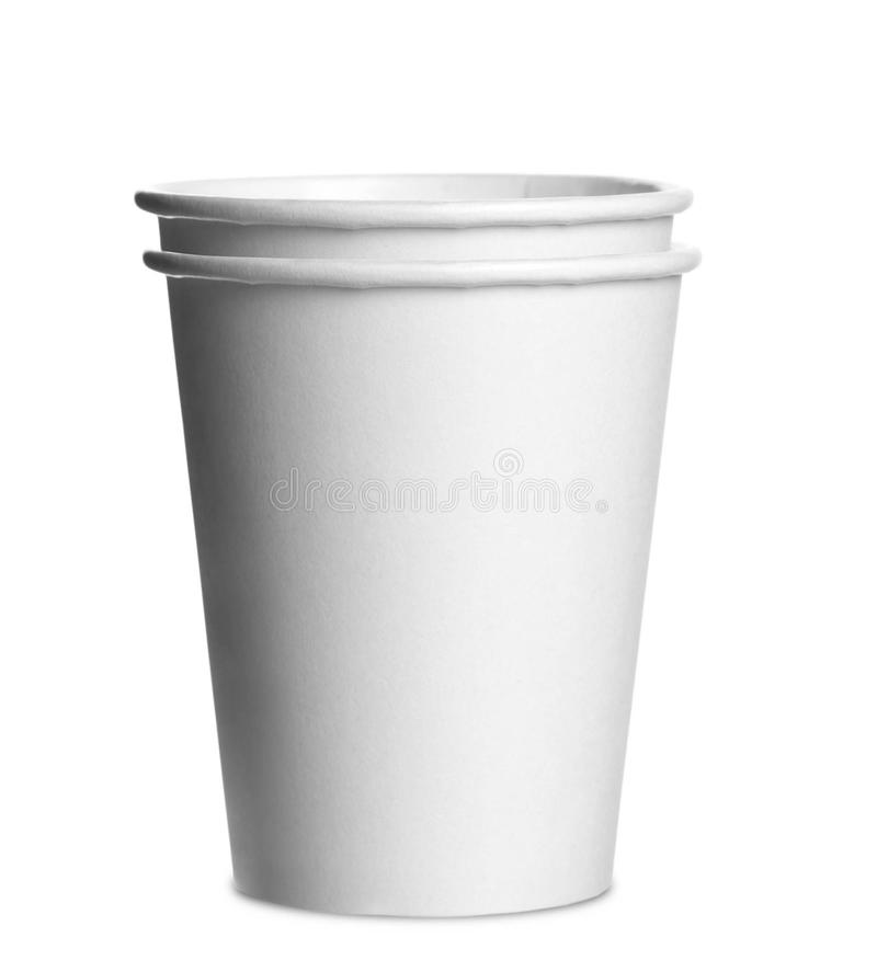 Paper cups isolated stock image