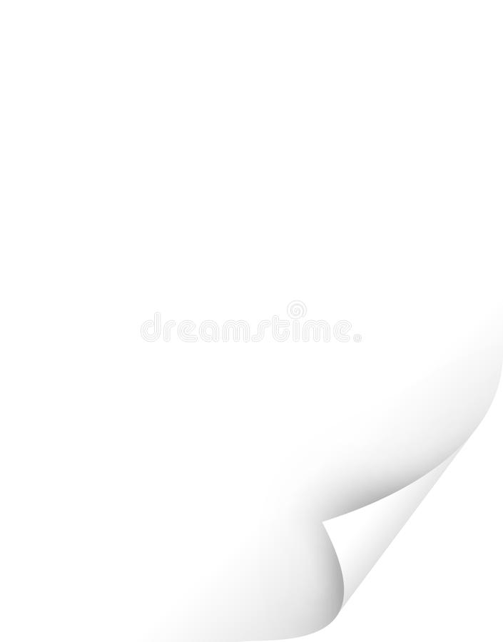 Paper curl. Blank white paper with curl stock illustration