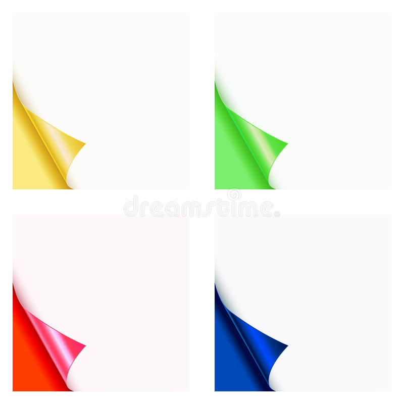 Paper curl color. Coner collection royalty free illustration