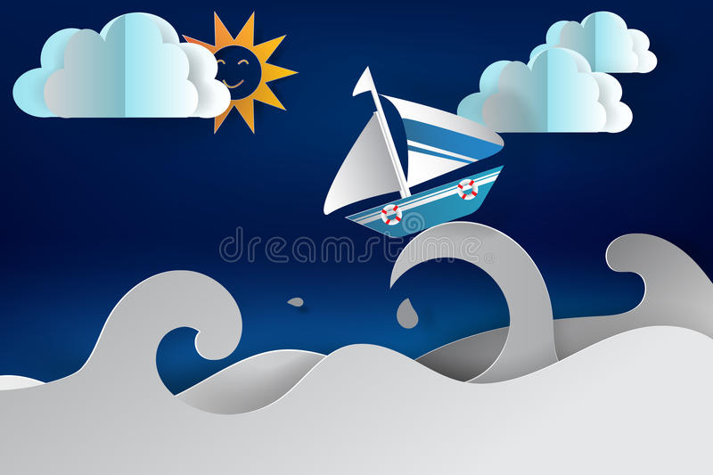 Paper cut art of Boat sailing in the sea royalty free illustration