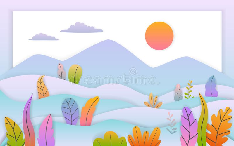 Paper cut art style autumn fall thanksgiving flat cartoon landscape with soft gradient colored leaves bushes background stock illustration