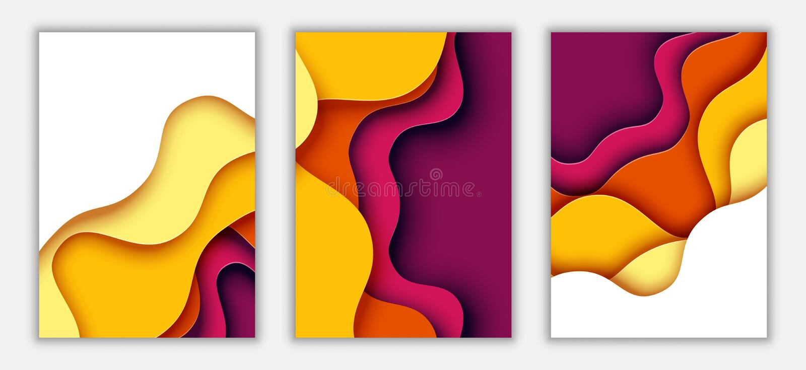 Vertical A4 paper cut banner template abstract background vector illustration