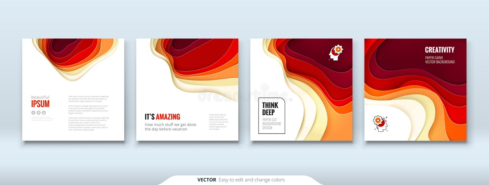 Paper cut background concept Paper carve abstract background for card banner brochure flyer design in red orange yellow stock illustration