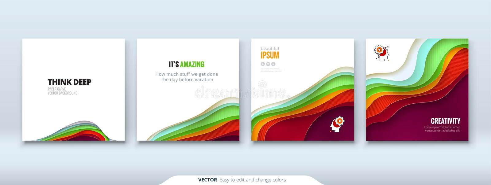 Paper cut background concept Paper carve abstract background for card banner brochure flyer design in red orange yellow vector illustration