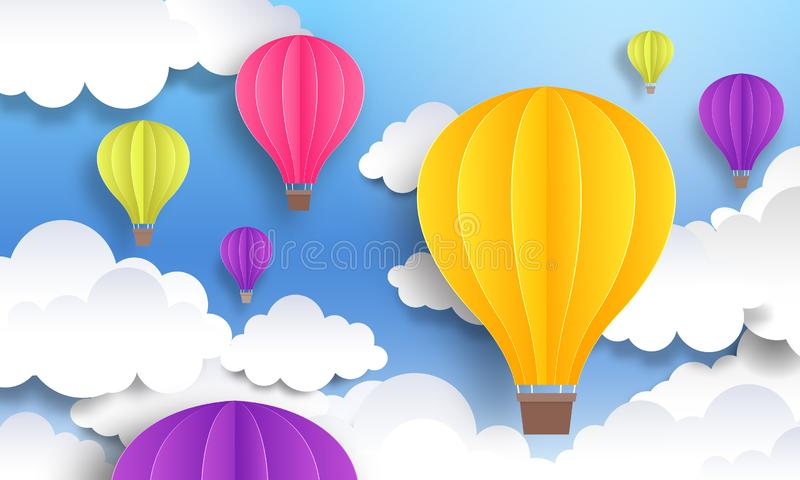 Paper cut balloons. Sky pastel background, cute origami cartoon graphic, flight voyage concept. Vector paper landscape royalty free illustration