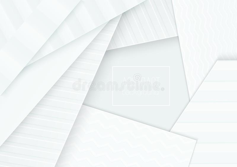 Paper cut banner concept. Paper curved abstract background for card poster brochure flyer design in soft light grey stock illustration