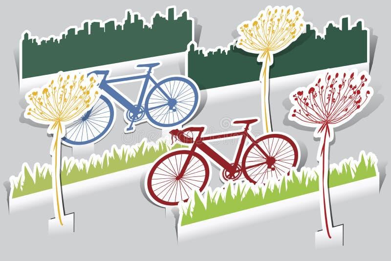 Paper cut bike, grass,bike, grass, flower i