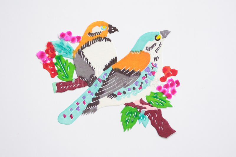 Paper-cut of birds stock illustration