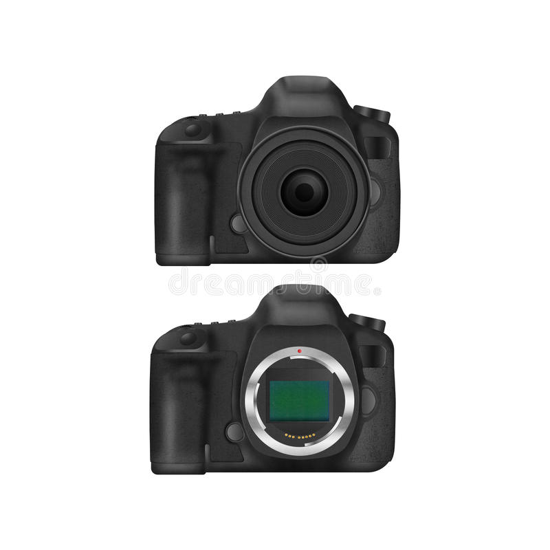 Paper cut of black slr digital camera isolated is body icon for stock images