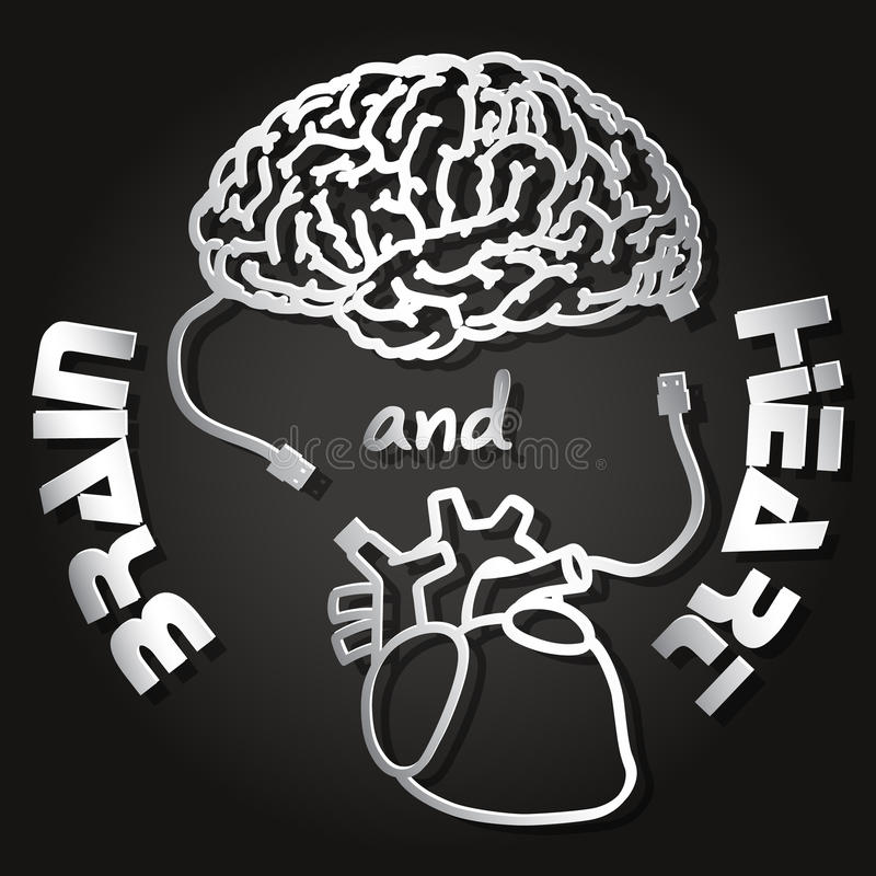 Paper cut of brain and heart. With USB cable royalty free illustration