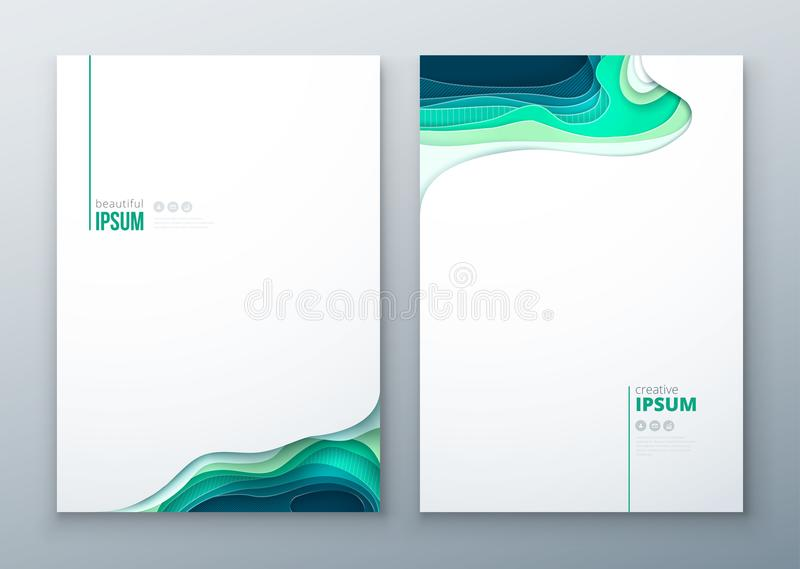 Paper cut brochure design paper carve abstract cover for brochure flyer magazine catalog design in green teal blue stock illustration