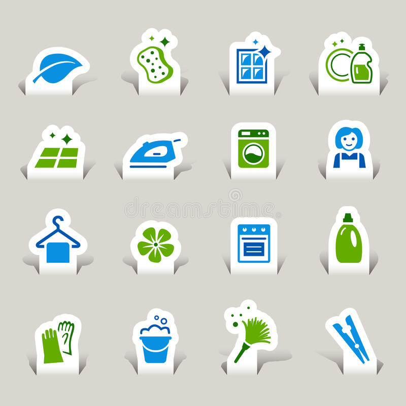 Paper Cut - Cleaning Icons. 16 cleaning and household vector icons set