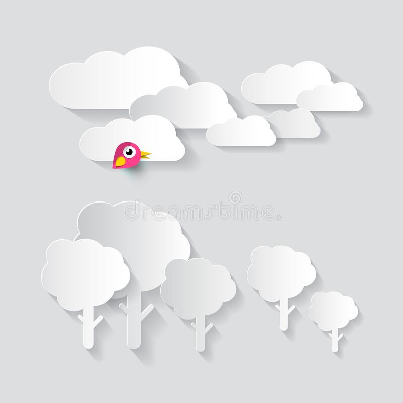 Paper Cut Clous and Trees with Bird vector illustration