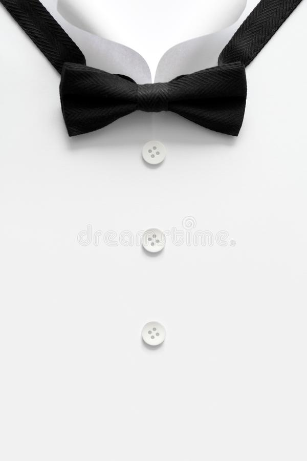 Paper cut collar of man shirts. Father`s day or wedding concept. Copy space. Top view. Minimalist style royalty free stock photo
