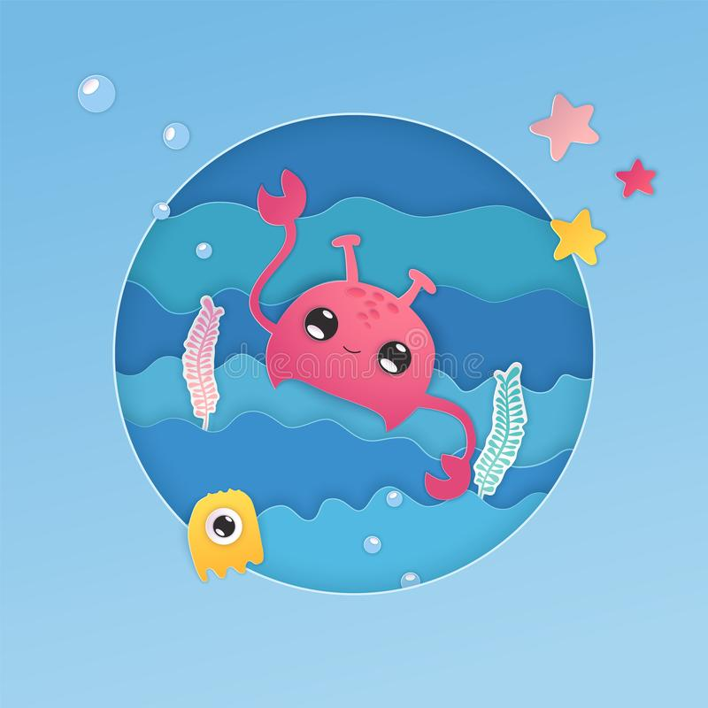 Paper cut collection with blue paper craft crab sea. Vector kawaii illustration. stock illustration