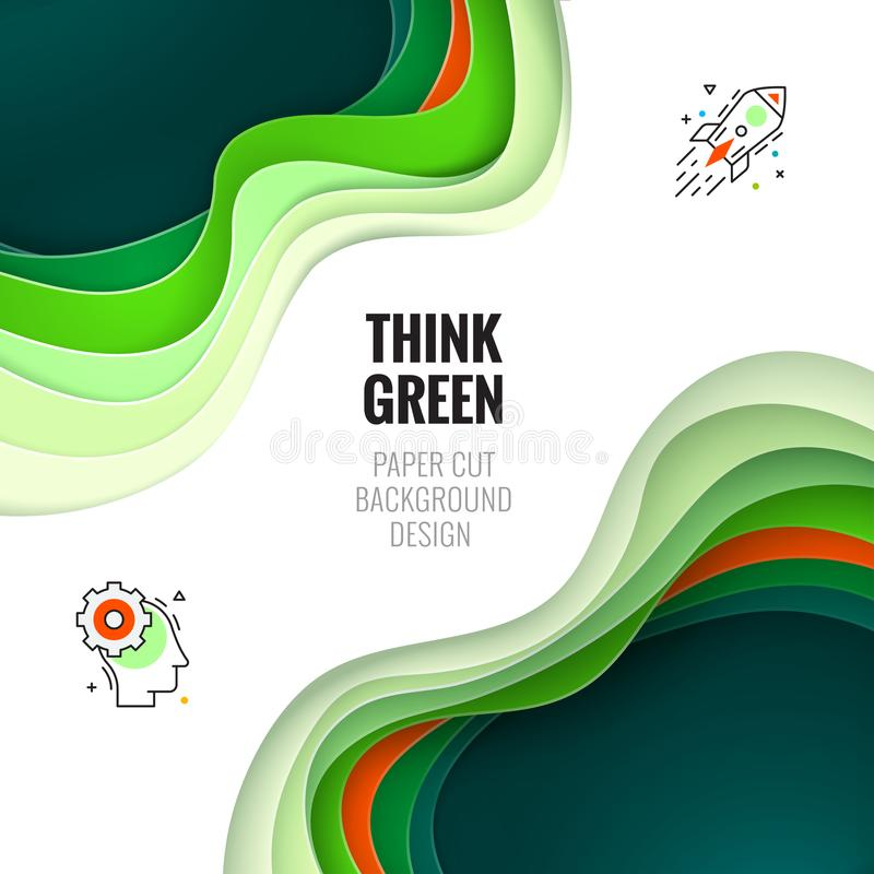 Paper cut concept. Paper carve abstract background for card, banner, brochure or flyer design in green colors vector illustration