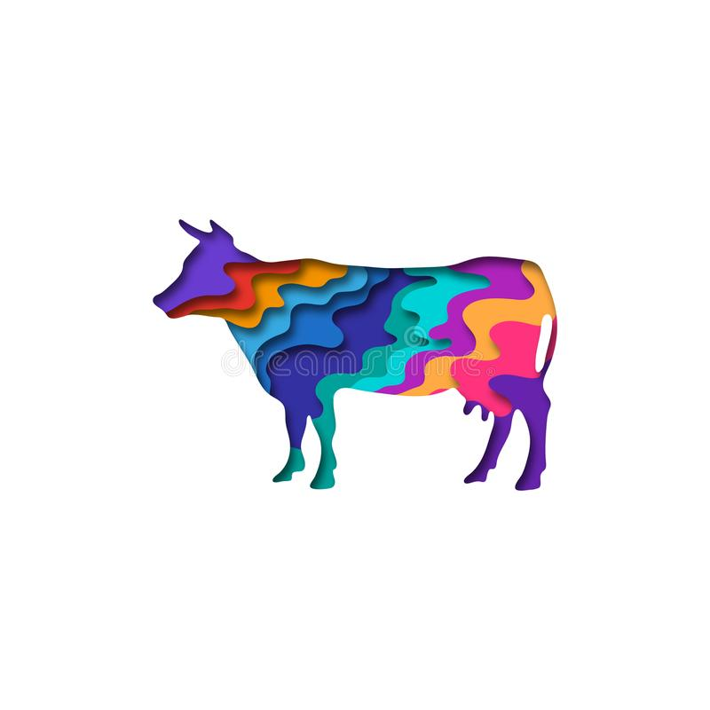 Paper cut cow, farm animals shape 3D origami. Trendy concept fashion design. Vector illustration. Paper cut cow, farm animals shape 3D origami. Trendy concept royalty free illustration