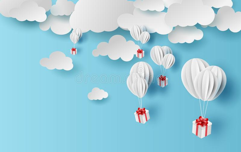 Paper cut and craft of Background with clouds on blue sky.Landscape for sunlight on cloudy.Summer season Hot concept.Summer time. By white balloons giftbox stock illustration