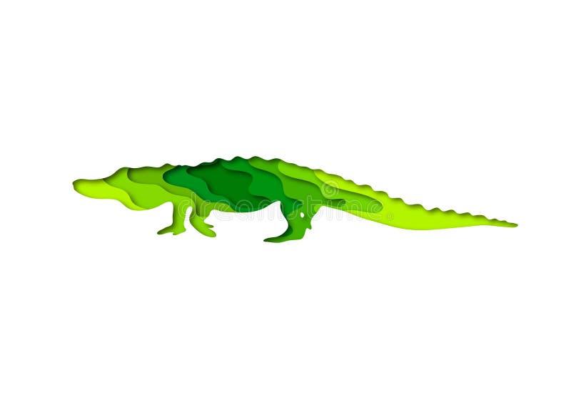 Paper cut crocodile, safari animals shape 3D origami. Trendy concept fashion design. Vector illustration vector illustration