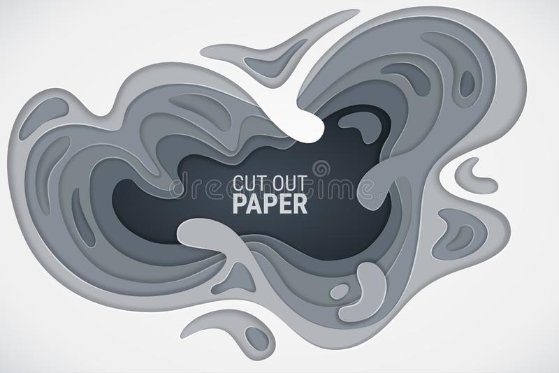 Paper cut. 3D effect. White, gray and dark gray wavy layers with a shadow and glare. Vector abstract background. stock illustration