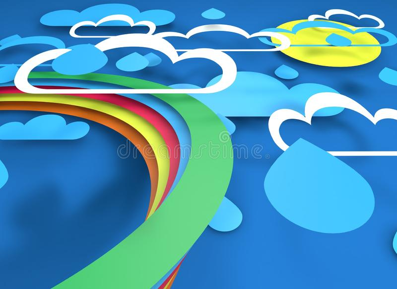 Paper cut design with clouds rain sun and rainbow stock photo