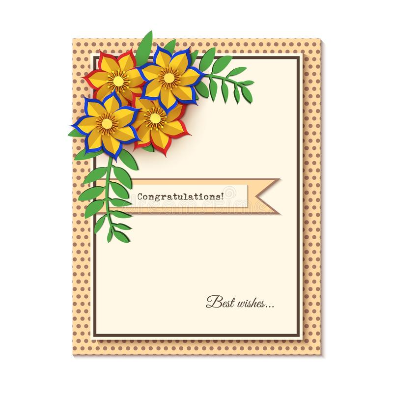 Paper cut design with flower composition on greeting card. Beautiful background with paper fantasy floral decorations vector illustration