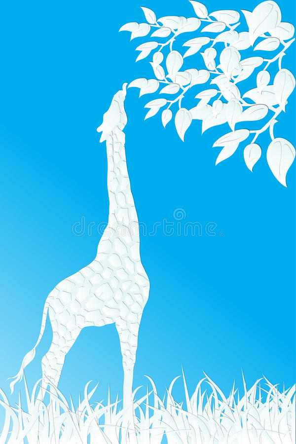Paper Cut Design Giraffe Eating Leaves On Blue Stock Image
