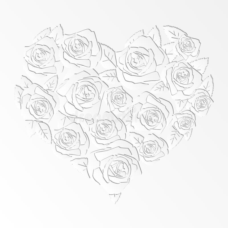 Paper cut design isolated heart of roses