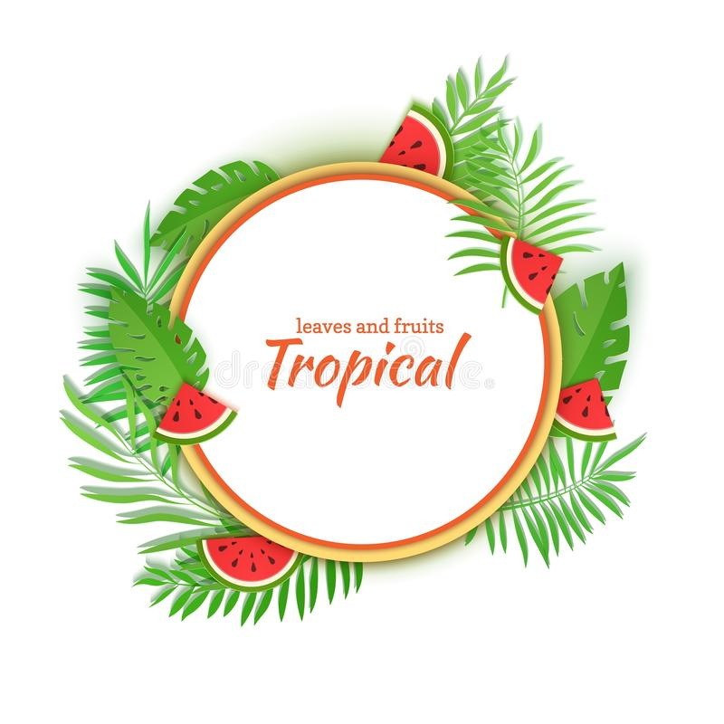 Paper cut design with white round sticker slice watermelon and jungle leaves. Vector card illustration with place for vector illustration